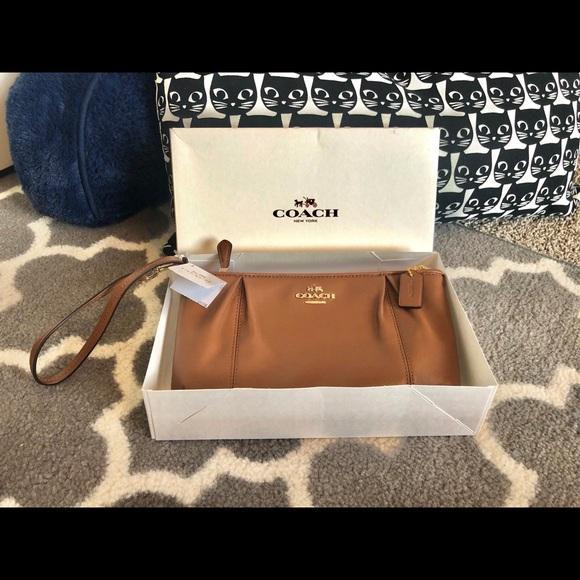 Coach Handbags - COACH Colette Zip Wristlet Saddle